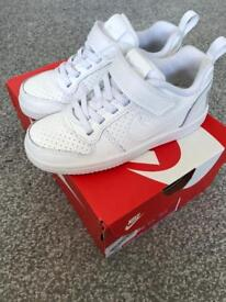 Kids white nike Air Force size 10, worn for half hour! As new in box.