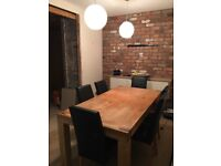 Dining table( extendable leaf) and 6 black leather dinning chairs