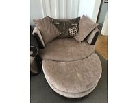 DFS Large Swivel Cuddle Chair and Footstool, 3 years old