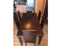 Dark Wooden Dining Table with 6 Chairs