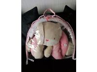 Mothercare pink baby bear play matt with arch and toys