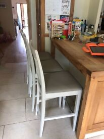3 bar stools - white painted wood and pale grey leather seats