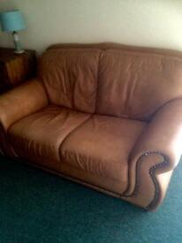 2 sofas 1 armchair and 1 poufee in Tan leather