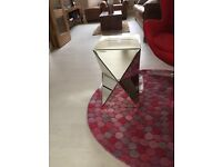 New designer Piana mirrored glass pedestal table
