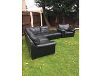 Black corner sofa and armchair