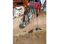 Set of golf clubs, full set of irons plus putter in a bag, Spalding