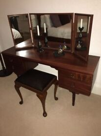Mirrored Dressing table with stool and two bedside units