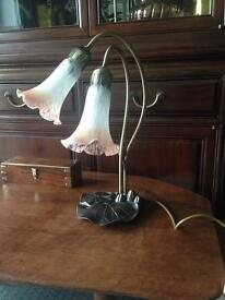 Tiffany style Lily Pad Table Lamp, twin trumpet glass shades.