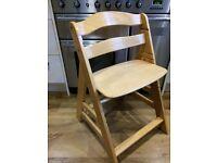2x Children's adjustable wooden high chair.