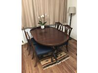 Vintage retro oval table and a set of 4 chairs for sale