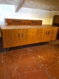 G plan Sodeboard Double Media/Storage Cabinet in Teak on Bare Steel Hairpin Legs. Mid Century Chic
