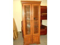 Beautility Corner Display Cabinet Cupboard with Glass Doors and Shelves. Excellent Condition