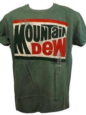 New Mountain Mtn Dew Adult Mens M-L-XL-2XL Distressed Print Soda Pop Shirt - Adult Mens
