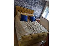 Beautiful velvet mustard double bed
