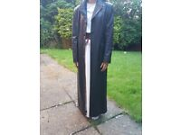 Leather jacket coat / black vgc long sexy