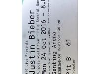 REDUCED: Justin Bieber Pit B ticket Mon 24 Oct Genting Arena Birmingham- CLOSEST TO THE ACTION!