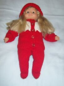 14 inch soft body Doll with hair and Christmas Outfit