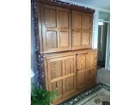 Antique Victorian Pitch Pine School Cupboard