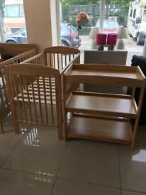 Brand New Mamas and Papas Oak Effect Cot and Changing Station