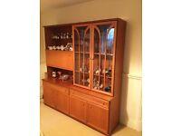 Retro vintage teak wall display cabinet