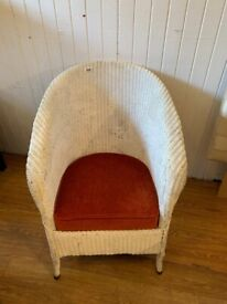 Loom style tub chair , with red velvet seat covering. Size - H 76cm W 60cm D 65cm Seat Height 42cm