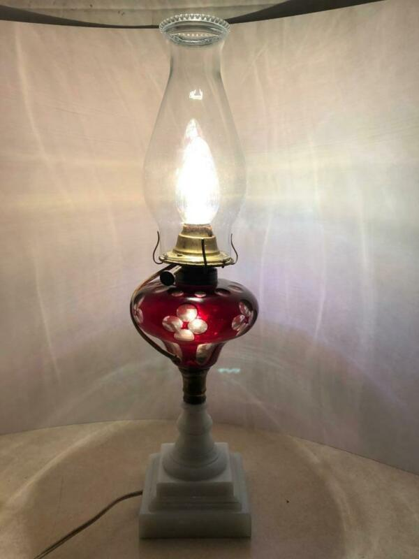 ANTIQUE SANDWICH GLASS ELECTRIFIED 2 BULB  OIL LAMP CASED CRANBERRY CUT TO CLEAR