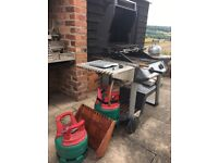 3 burner tungsten bbq with 2 tanks, and accessories