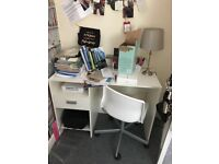 White Office Desk and White Swivel Chair