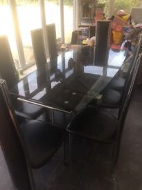 Luxor Black glass extending dining table