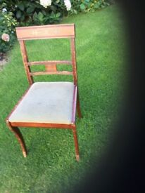 Sturdy upright dining chair with upholstered seat