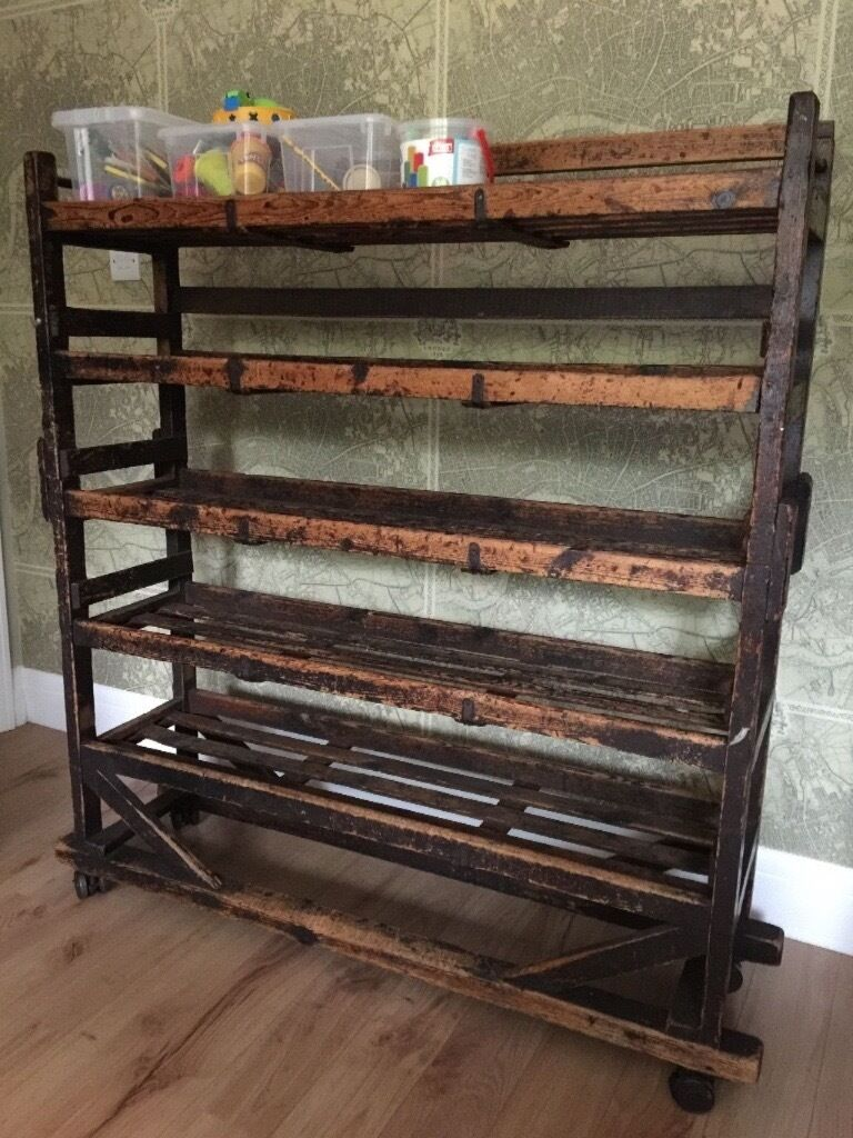 Vintage Industrial Shelving Cobblers Shoe Rack In Sale