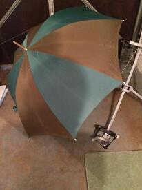 Green/brown striped golf umbrella