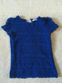 Royal blue lace girls top, 7-8 years