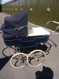Pedigree vintage pram Vanguard model, in navy blue good condition for age.