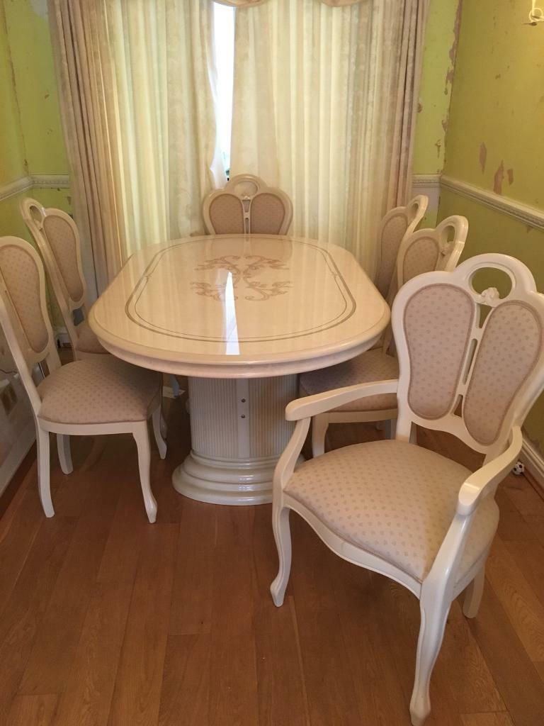 Italian Style Dining Table 6 Chairs Matching Display Cabinet