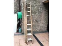 Heavy Duty Wooden/Aluminium triple extending ladder.