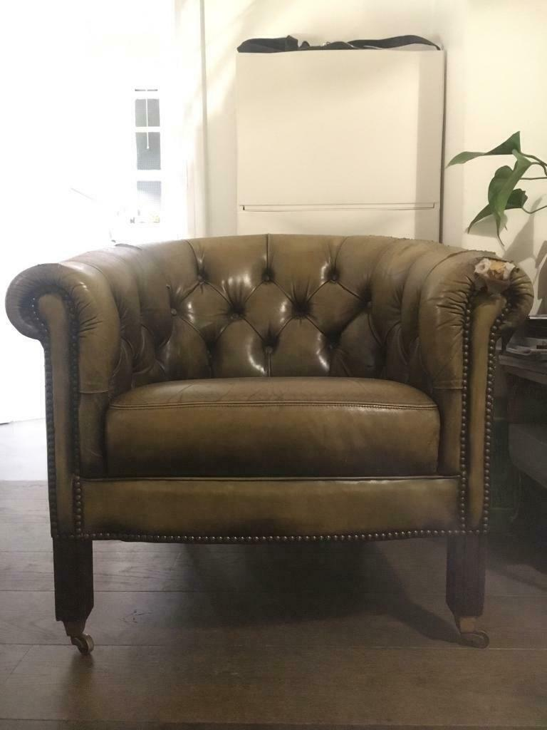 Vintage Chesterfield Green Leather Armchair | in Hackney ...