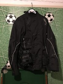 Motor Cycle Jacket, Gloves And Trousers SIZE SMALL