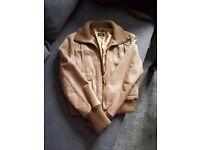 Oasis Tan leather bomber jacket