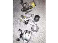 3 Fishing Reels Seat Box and Fladen fishing suit