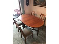 Dinning table (gate leg) and 4 chairs.