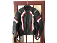RST-14 Leather Motorcycle Jacket Red/White With RST Back Protector As New Size 50UK/60EU