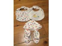 Cath Kidston Baby bootie, hat and bib set/bundle 0-3