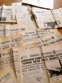 Vintage wartime newspapers