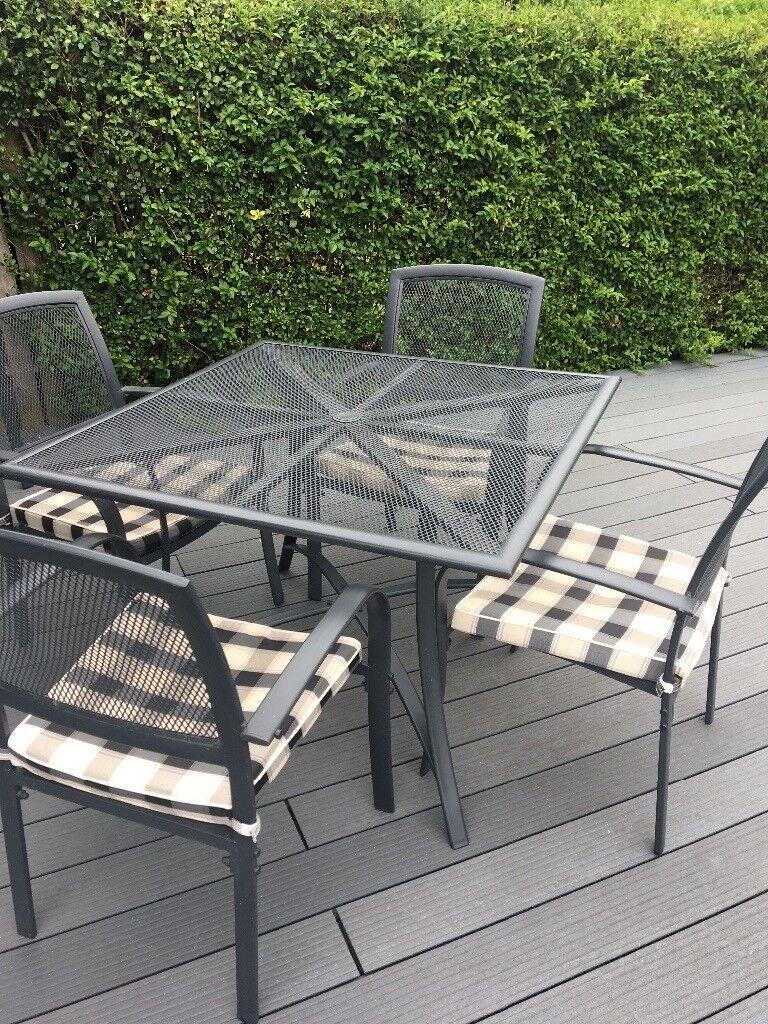 4 seater metal armchair outdoor garden patio set