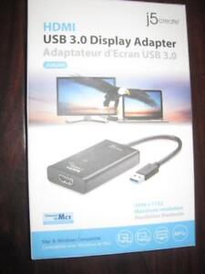 j5Create USB 3.0  to HDMI Adapter. DVI to HDMI. Extend the Display. For Laptop / Computer / Surface / Macbook Pro Air.