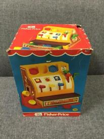 VINTAGE RETRO FISHER PRICE CASH REGISTER TILL 5 coins BOXED CASH 70s 1970s RETRO TOY SDHC