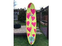 7ft Surfboard longboard with leash and bag