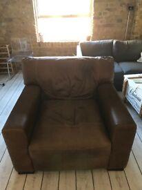 John Lewis - Brown leather armchair