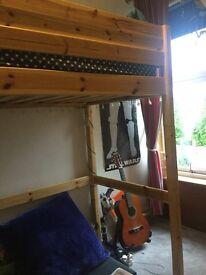 High sleeper single bed. Solid pine. Good brand - Thuka.